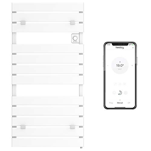 Heatzy Flat - Sèche-Serviettes Connecté - Bluetooth 4.1 - Programmable - Chaleur sèche Ultra Rapide - 500 Watts - 80 cm x 55 cm - Blanc