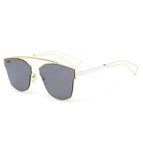 Mike Wodehous Gafas de Sol de Moda for Mujer Marco de Metal Irregular Gafas de Sol de Ojo de Gato sin Bordes Medio Conducción clásica for Gafas de Sol de Dama Moda Mujer (Color : Gris)