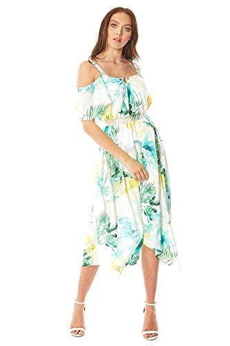 Roman Originals - Vestido midi con hombros fríos para mujer, para verano, noche, vacaciones, jardín, fiesta, ocasión especial, boda, invitado, vestido con dobladillo