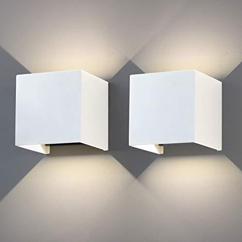 Klighten Lámpara de pared de 12W, lámpara de pared LED moderna de aluminio de 2 piezas, blanco natural IP65,4000K, luz de pared con ajuste de ángulo de haz ajustable, blanco