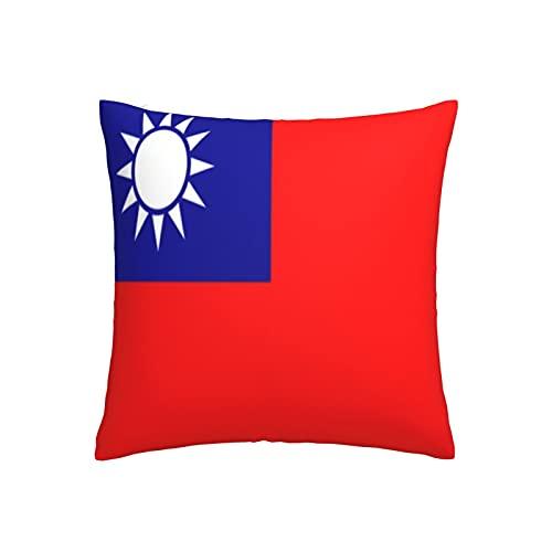 ADONINELP Dekokissenbezüge Taiwan Flagge Dekorativer Kissenbezug Gemütlicher Kissenbezug Quadratischer Kissenbezug für Zuhause Wohnzimmer Bett Couch Sofa 18x18 Zoll 1 Stück