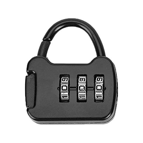 HYMD Código portátil de 3 dígitos Combinación de contraseña de Bloqueo Mini Caja de Equipaje Candado de Mochila Candado para Mochila de Viaje Bloqueo (Color : Negro)