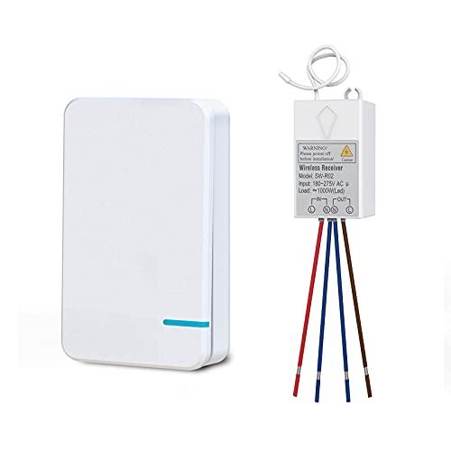 Thinkbee Funkschalter Set mit Fernbedienung, MINI kabelloser Lichtschalter Wasserdicht Wireless Schalter für In-/Außen Lampe 1000W Installierbar/Tragbar Funktaster 600.000 Mal Verwendbar-1 Taste