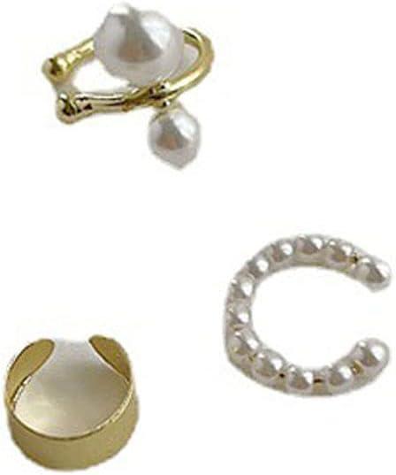 JIMITI Korean Women Girl Pearl Chic Fashion Jewelry Little C Cubic Earrings Ear Clips Ear Cuffs Cartilage Clips