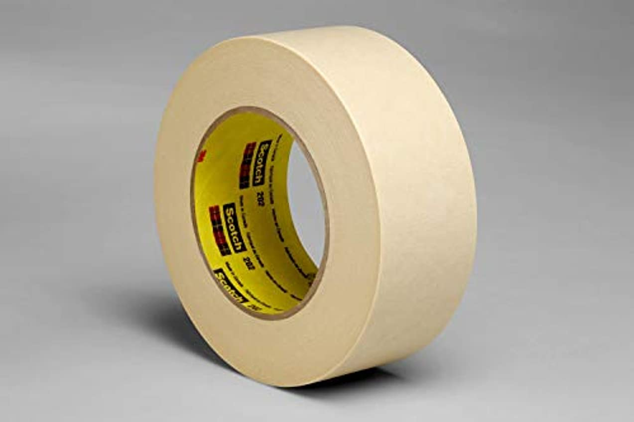 3M 02815-case Crepe Masking Tape 202, 36 mm x 55 m 6.3 mil Bulk, Tan (Pack of 24)