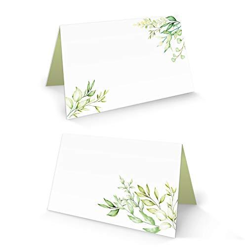 Logbuch-Verlag 100 Tischkarte weiß grün hellgrün Blätter Blume Namensschild Sitzkarte kleine Kärtchen für Namen Tischdeko Hochzeit Kommunion Geburtstag FÜR JEDEN Stift