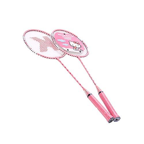 xiaoxioaguo Badmintonschläger für Kinder Grundlegende Anfängerschläger - Figura decorativa (aluminio), diseño de Hello Kitty
