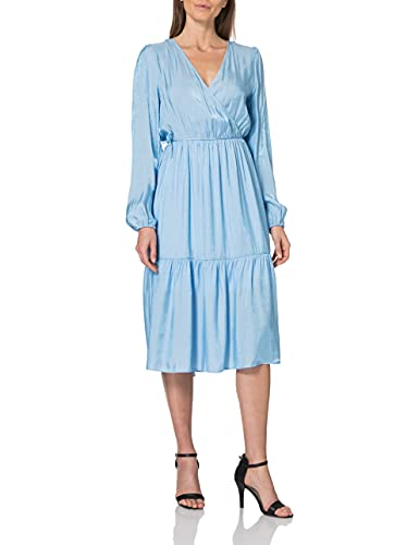 Vero Moda Curve Damen VMTOVA L/S Calf Dress Curve SB6 Kleid, Placid Blue, 48 Größen