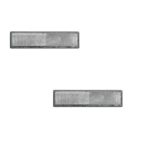 Set Reflektor/Katzenauge/Rückstrahler Weiss 122 x 32,5 mm, selbstklebend