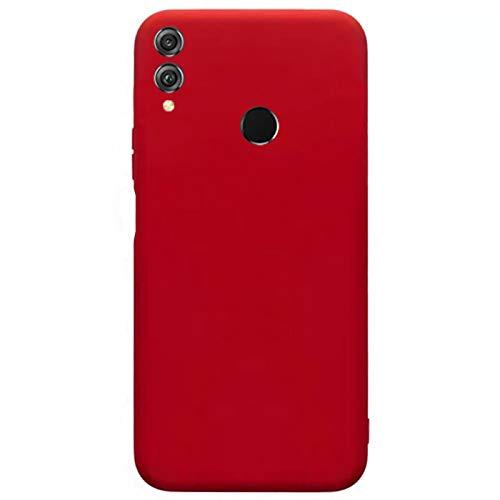 Compatible para Huawei Honor 8X Carcasas(2018)+3D Protectores de Vidrio Templado/Case Caso Silicona TPU Airbag Anti-Choque Bumper Ultra-Delgado Blandas Fundas para Huawei Honor 8X-Rojo