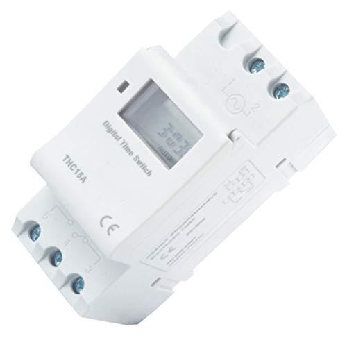 rongweiwang 7.5VA Digital LCD Disply Potencia Temporizador semanal riel de Montaje del Interruptor electrónico programable semanal Tiempo del Temporizador