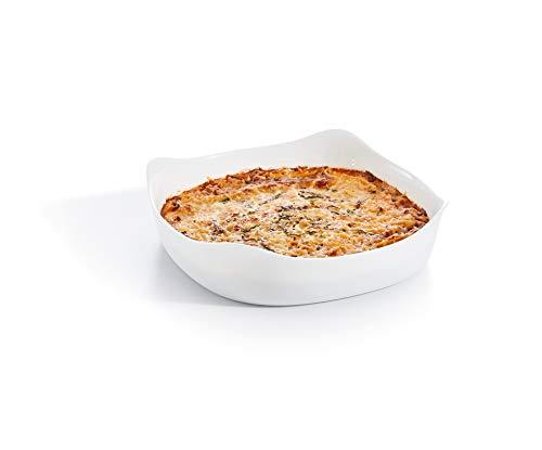 Luminarc - Plat carré Blanc Smart Cuisine Carine 250°C - Plat à Four en Verre Innovant - Léger et Extra-Résistant - Nettoyage Facile - Fabrication en France - Dimensions 26x26 cm