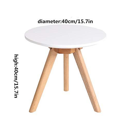 NA Massivholz-Couchtisch, Kleiner Eck-Couchtisch, Runder Kleiner Couchtisch Aus Massivholz, Kreativer Kleiner Schreibtisch/Couchtisch,Weiß,40 cm / 16In