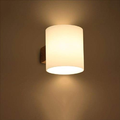 Modern Japanese-Style Drums Glass Shade Wall Sconce Light High Brightness E27 Solid Wood Wall Lamp Wall-Mounted Bedroom Bedside Lamp Living Dressing Room Corridor Wall Lantern (Size : 1-Light)