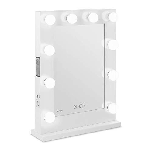 Physa Espejo Hollywood De Maquillaje Phy-CMS-9 White (Marco Blanco, 10 Bombillas LED 6.400 K / CRI 80, Rectangular, con Enchufe, USB y Altavoz)