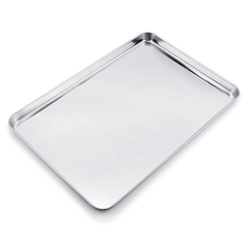 WEZVIX Baking Sheet Stainless Steel Baking Tray Cookie Sheet Oven Pan Rectangle Size 24 x 16 x 1.3 inches, Non Toxic & Healthy, Rust Free & Less Stick, Thick & Sturdy, Easy Clean & Dishwasher Safe