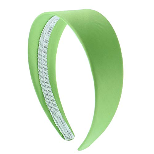 Bright Green 2 Inch Wide Satin Hard Headband with No Teeth (Motique Accessories)
