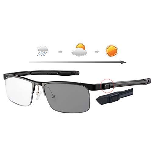 BWBZ Gafas de Lectura Inteligentes Que Cambian De Color Gafas De Lectura Anti-Azules Lente De Resina Multifocal Protección contra La Radiación Anti-UV Alivia La Fatiga Ocular Patillas Ajustables