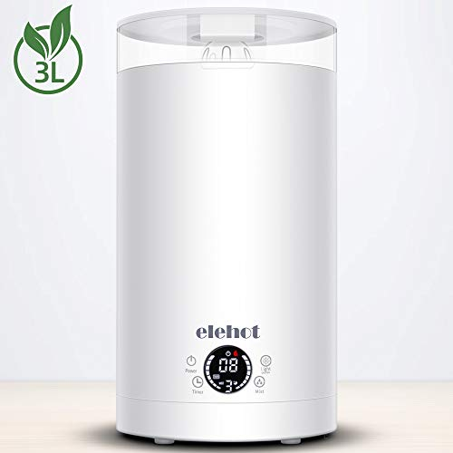 Humidificateur d'Air Bébé Maison Chambre 3L Humidificateur Ultrasonique Silencieux ELEHOT (Blanc)