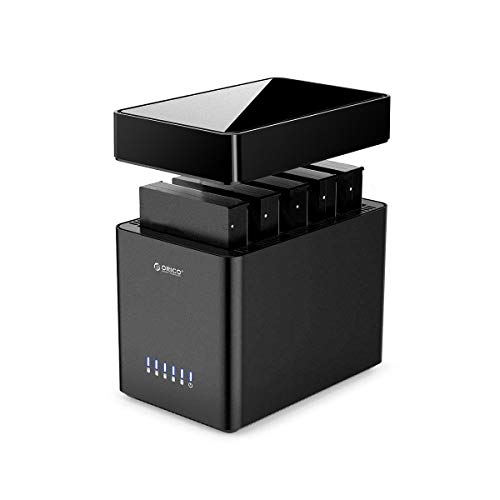 ORICO 5Bay Hard Drive Enclosure Type-C to SATA 3.5inch Enclosure Magnetic Tool-Free External HDD SSD Enclosure Storage Case Built-in Fan for Data Backup, NAS Expansion Up to 80TB(5x16) - DS500C3