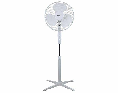 HAEGER Cross Wind - Ventilador de pie, 3 velocidades, aspas 40cm de diamétro, altura ajustable (130 cm), ajustable verticalmente, función de oscilación de 90º, 45W, silencioso