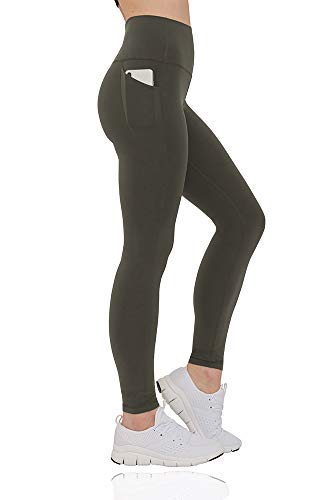 Eedor High Waist Yoga Pants with Pockets Tummy Control Full-Length Workout Leggings for Women Dark Olive Medium