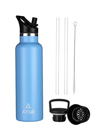 Arslo Stainless Steel Double Wall Water Bottle, Vacuum Insulated Bottle With Straw Lid, Insulated Water Bottle Keeps Water Cold for 24 Hours, Hiking, Sports, Outdoor