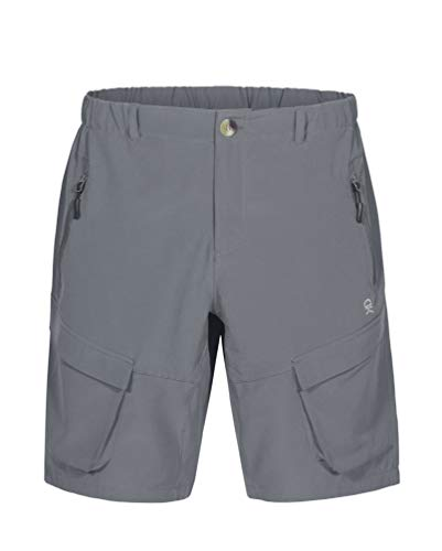 Little Donkey Andy Men's Stretch Quick Dry Cargo Shorts for Hiking, Camping, Travel Grey Size L