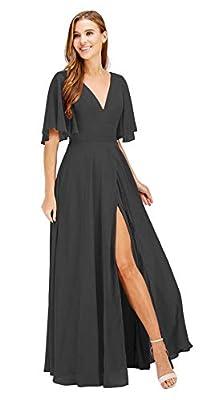 MEET Black Bridesmaid Dresses 2021 Long Chiffon with Slit A Line Ruffle Sleeves