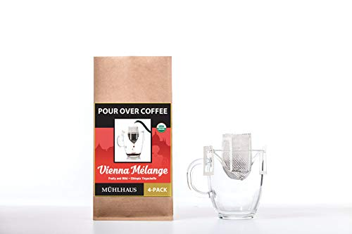 POUR OVER COFFEE, Vienna Mélange (Fruity and Mild, Ethiopia Yirgacheffe), Worlds Most Advanced Portable Organic Coffee (8 Pack)