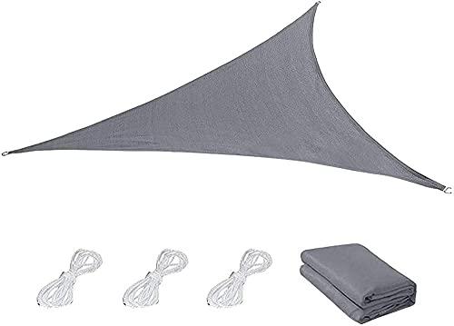 wuquansy Toldo triangular gris con cuerdas de sujeción de poliéster permeable, impermeable, con 95% de protección UV, gris 4 x 4 x 5,7 m