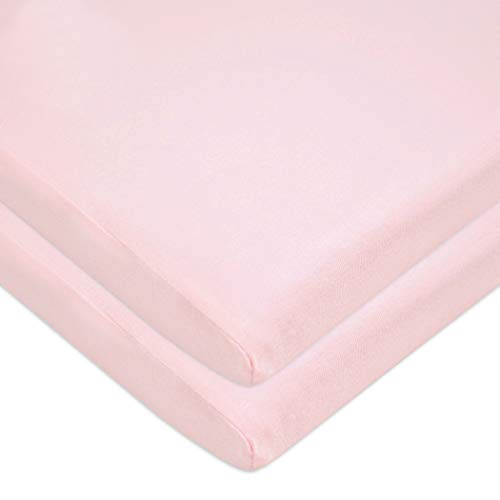 American Baby Company 2 Pack 100% Natural Cotton Value Jersey Knit Fitted Bassinet Sheet, Pink, Soft Breathable, for Girls