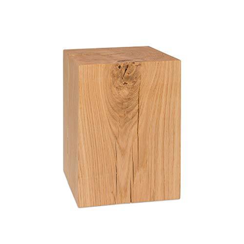 GREENHAUS Holzblock Eiche Massiv 20x20x30 cm Handarbeit und Massivholz aus Deutschland Holzklotz Holzwürfel Eichenklotz
