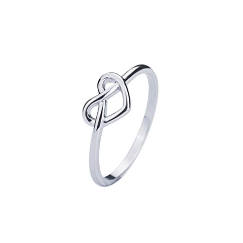VENSERI S925 Sterling Silver Jewelry Celtic Love Knot Ring (White, 6)