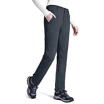 Womens Snow Pants Fleece Lined Ski Pants Winter Warm Waterproof Insulated Hiking Travel Cargo Work Softshell Trousers