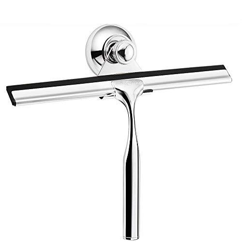 Veramz Duschabzieher, Edelstahl Duschabzieher mit 1 Saugnapf-Halter und 2 Ersatzlippe zur Badezimmer Fensterabzieher für Dusche, Badezimmer, Spiegel, Glas-Reinigung, Fliesen