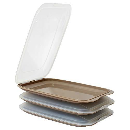 ENGELLAND - Hochwertige stapelbare Aufschnitt-Boxen, Frischhaltedose für Aufschnitt. Wurst Behälter. Perfekte Ordnung im Kühlschrank, 3 Stück Farbe Braun, Maße 25 x 17 x 3.3 cm