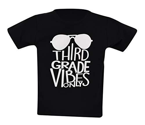 Unique Baby Boys 3rd Grade Vibes Only Back to School T Shirt (9, Black)