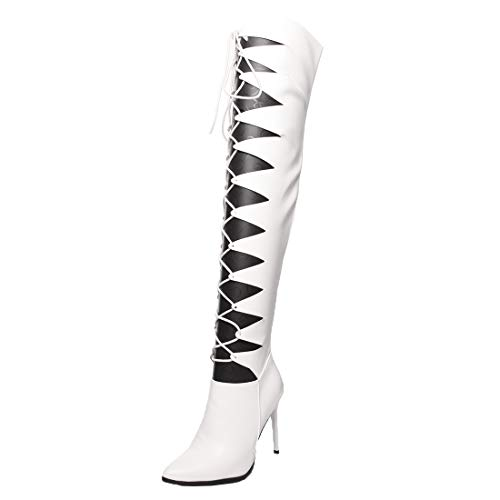 MISSUIT Damen Spitze Overknee Stiefel Stiletto Schnürung High Heels Sommerstiefel mit 11cm Absatz Cut Out Boots Reißverschluss Schuhe(Weiß,37)