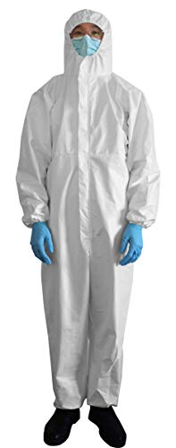 SMS Disposable Isolation Gown Splash Resistant with Hood White Medium