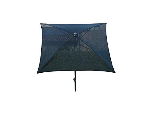 PEGANE Parasol carré centré Coloris Noir, H 250cm x D 180 X 180/4 Baleines