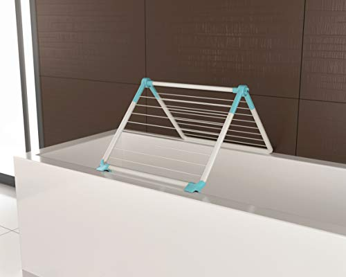 Artweger by Juwel Wäschetrockner Superdry Wing mint (Badewannentrockner klappbar, Trockenlänge 8,8 m, Wäscheständer für Dusche / Balkon, mit Kunststoff-Wäscheleinen) 40807
