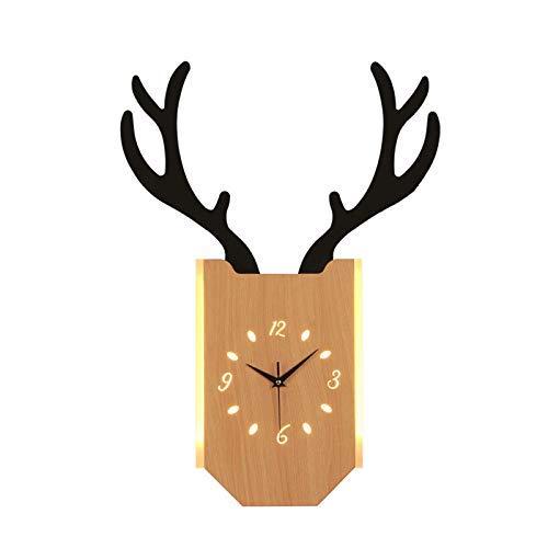 Waqihreu Lámpara de Pared de Arte LED,Lámpara de Pared de Reloj de asta Creativa,Aplique de Grano de Madera,Luz de Noche para Dormitorio,Pasillo,Pasillo,Sala de Estar,Comedor,Pasillo,18W