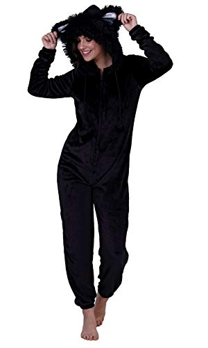 Loungeable Damen Jumpsuit Overall Tiere Gesichter Öhrchen 3D Kapuze Schwarze Katze 799011 M