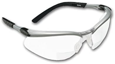 Crews BKH25 BearKat Magnifier Polycarbonate 2.5 Diopter Clear Lens Safety Glasses with Non-Slip Hybrid Black Temple Sleeve by MCR Safety