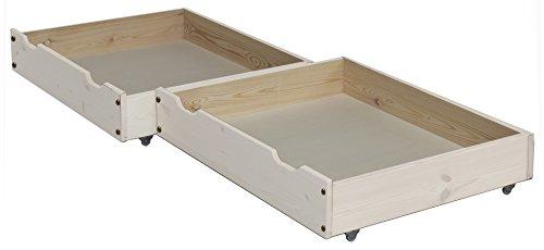 silenta Bettkasten Rollkasten Bettschublade, 2 Stück, 85 x 71cm, aus Massivholz auf Rollen (weiß)