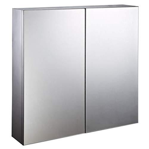 HOMCOM Stainless Steel Wall mounted Bathroom Mirror Storage Cabinet Double Doors 600mm (W)