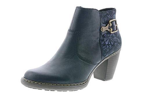 Rieker 55292-14 - Botas tobilleras con tacón de bloque para mujer, color azul