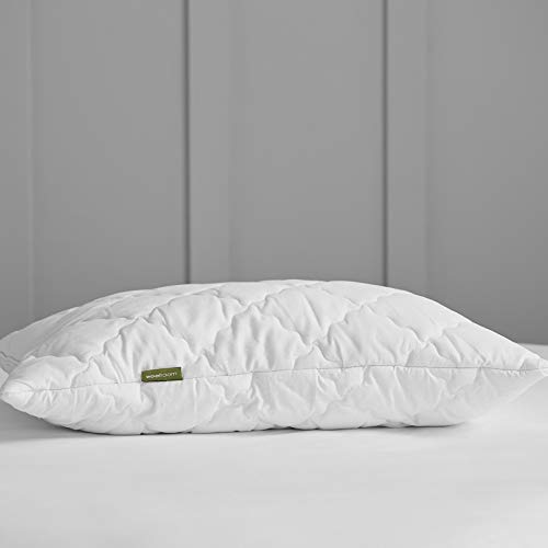 WOOLROOM Queen - Classic Natural Temperature Humidity Regulating Supportive British Wool Pillow with Cotton Outer – Feather and Down Alternative