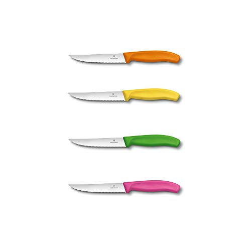 Victorinox - Couteau à Steak Gourmet Swiss Classic, Tranchant denté 12 cm - Couleurs Assorties: Jaune, Orange, Rose, Verte - Emballage spécial de 4 Pièces